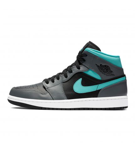 Air Jordan 1 Mid Black/Aurora Green/Smoke Grey